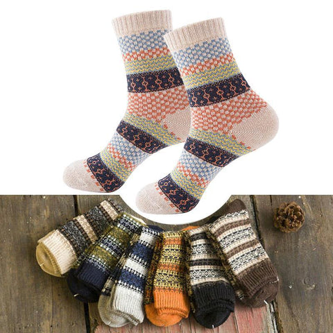 16 Retro Colors, Vintage Striped, Totem Winter Socks-Snazzy Socks