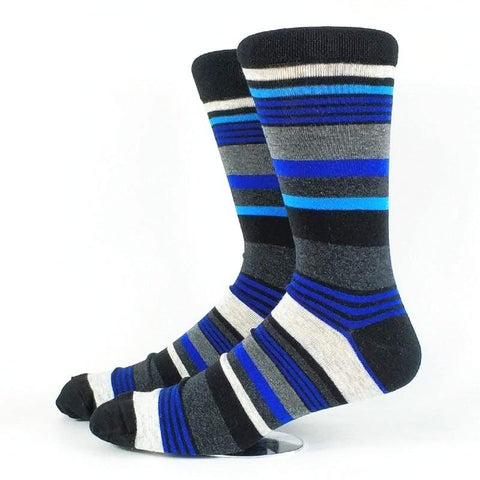 2 Pack Men's Striped Socks USA 6-9 & 10-13-Snazzy Socks