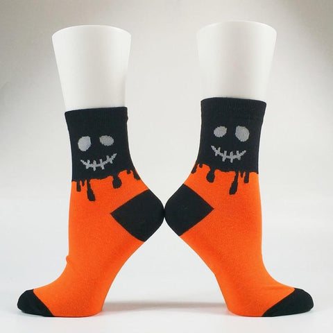 💀 2 Pack Women's Halloween Pumpkin Skull Socks US Size 5-10-Snazzy Socks