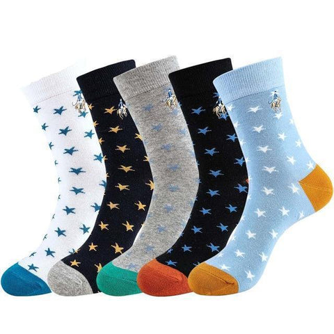 ⭐ 5 Pairs, High Quality PIER POLO Men's Star Socks-Snazzy Socks