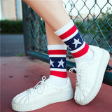 For the Patriotic Woman, Stars and Stripes Crew Socks-Snazzy Socks