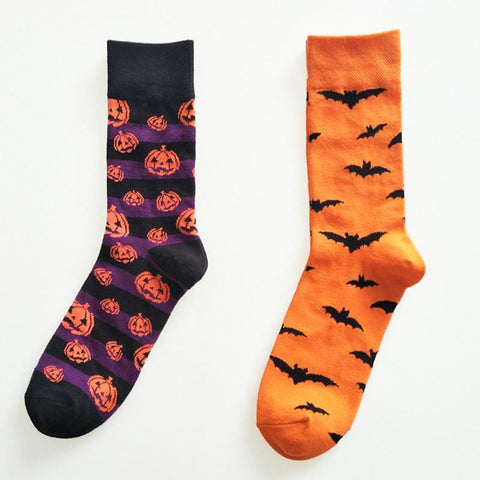 🦇 Halloween Bats and Pumpkin Pattern Socks (Unisex)-Snazzy Socks