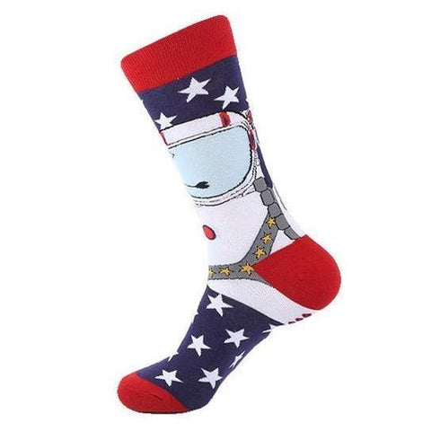 🚀 Men's Astronaut Socks, First in Space, USA-Snazzy Socks