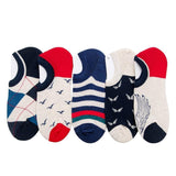 Men's Colorful No Show Socks, 5 pack,-Snazzy Socks