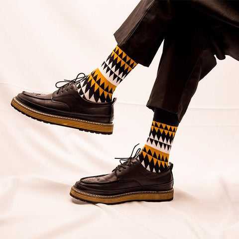 Men's Colorful Socks, Dots/Stripes/Sawtooth Patterns (Pair)-Snazzy Socks