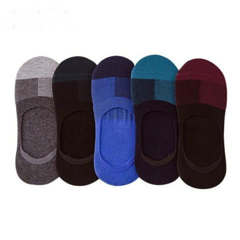 Men's Cotton No Show, No Slip Socks, (5 Pairs)-Snazzy Socks