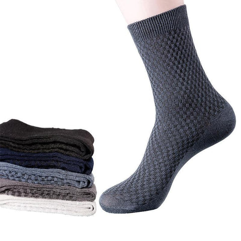 5 Pairs Men's Dress Socks, Bamboo Fiber Business Socks, Size 7-11-Snazzy Socks