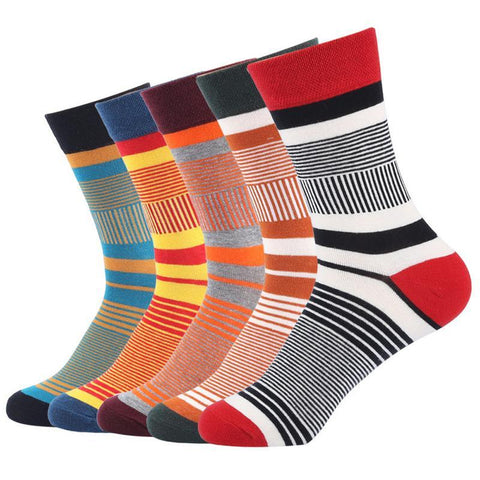 Men's Autumn, Winter, Colorful Striped Cotton Socks, (5 pairs)-Snazzy Socks