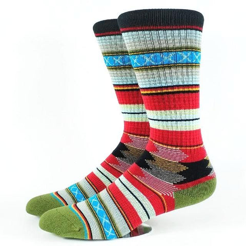 👺 Men's Guadalupe Tribal Stripe Socks, 4 Colors-Snazzy Socks