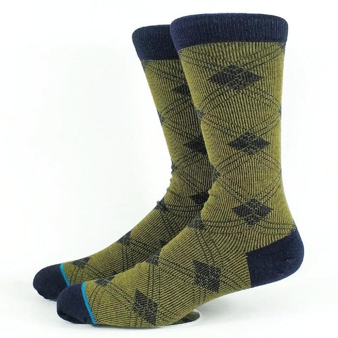 Men's Olive Plaid, Merino Wool Socks-Snazzy Socks