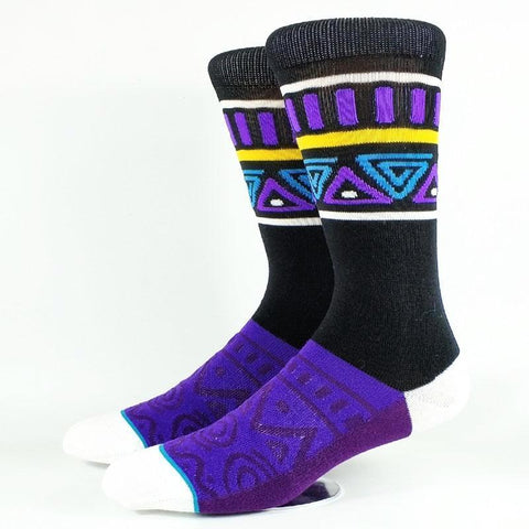 Men's Purple Tribal Pattern Crew Socks, Size 7-12-Snazzy Socks