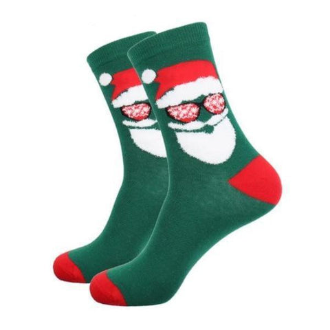 🎅 Men's Santa in Shades, Christmas Socks, Size 7-12-Snazzy Socks