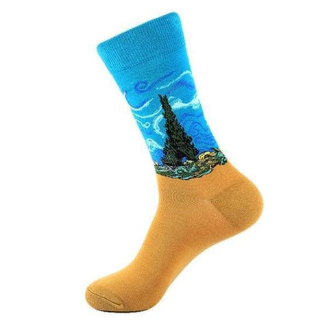 🎨 Men's Van Gogh, Wheat Field with Cyprus Tree Socks-Snazzy Socks