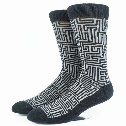 Men's/Women's Maze Socks, Size 7-10, 2 Colors-Snazzy Socks