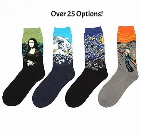 🎨 Men/Women's Famous Art Socks, Van Gogh, Picasso, Famous Oil Paintings-Snazzy Socks