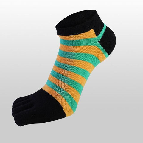 👣 Men/Women's Striped, Cotton, Toe Socks, 5 Colors-Snazzy Socks