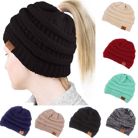 New Soft Knit Ponytail Beanie Hat, Multiple Colors