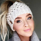 Ponytail Winter Hats For Women, Crochet Knitted, 5 Colors-Snazzy Socks