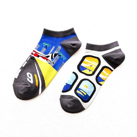 Airplane, Air Traveler Low Show Socks