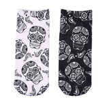 💀 Sugar Skull, Low Cut Ankle Socks, Black or White (Unisex) (Pair)-Snazzy Socks