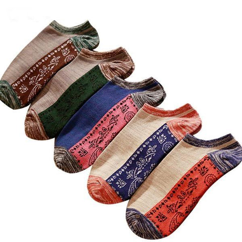 Vintage Style No Show Socks, Unisex (3 Pair)-Snazzy Socks