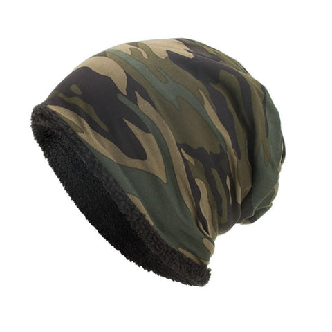 Women/Men Camo Slouch Beanie, Fleece Lining (4 Colors)-Snazzy Socks