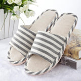 Women/Men's Linen Striped Slippers, Multiple Colors and Sizes-Snazzy Socks