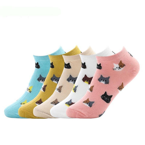 🐱 Women's Cat Socks, Multiple Colors (5 pairs)-Snazzy Socks