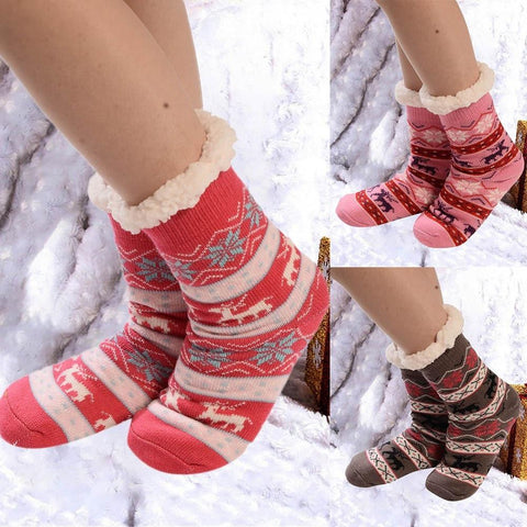 🎀 Women's Christmas, Fleece Lined Boot Socks, 24 Designs-Snazzy Socks