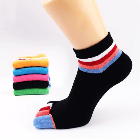 👣 Women's Cotton Striped Five Toe Socks, 5 Fun Colors-Snazzy Socks