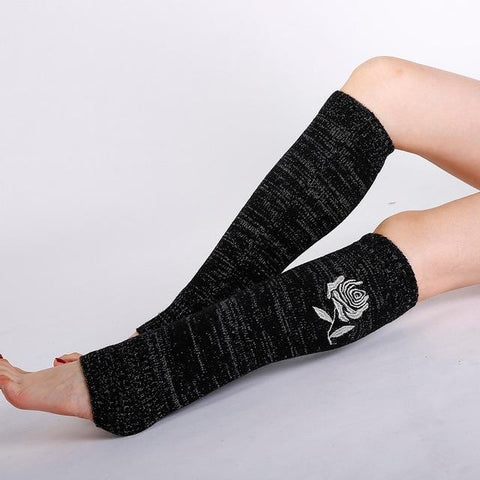 flower leg warmers black