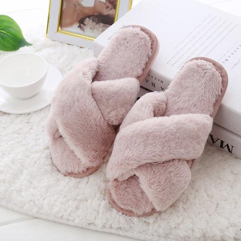 Women's House Slippers with Faux Fur, Memory Foam, 3 Colors-Snazzy Socks