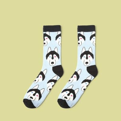 🐺 Women's Husky Dog Socks, Cotton Blend, 2 Colors, Size 6-10-Snazzy Socks
