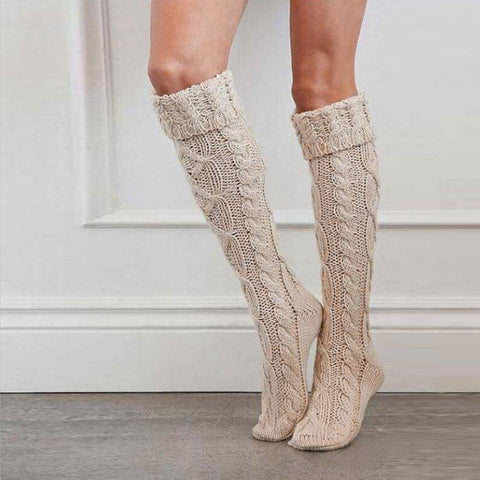 Women's Knitted Over Knee Socks, 3 Colors-Snazzy Socks