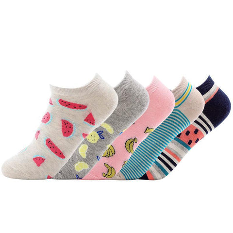 🍌 Women's Low Show Fruit Socks, 5 Pairs-Snazzy Socks