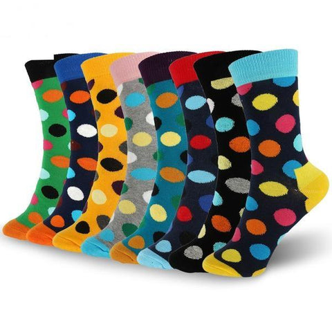 🔴 Women's Polka Dot Socks, Cotton Blend, Multiple Colors-Snazzy Socks