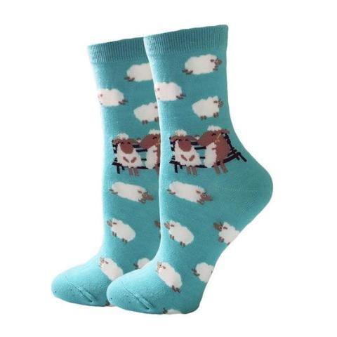 🐑 Women's Sheep Socks, One Size 5-10 (Pair)-Snazzy Socks