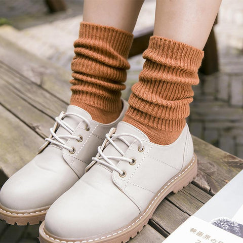🌾 Women's Solid Long Socks, Autumn, Winter, 7 Colors (Pair)-Snazzy Socks