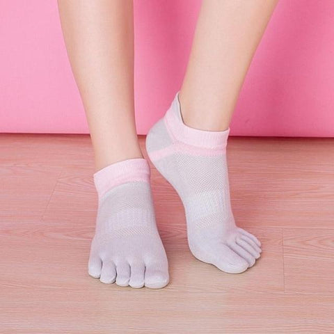 👣 Women's Sporty Toe Socks, Cotton Blend, 8 Colors-Snazzy Socks