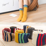 Women's Striped Knit Socks, Solid with Stripes-Snazzy Socks
