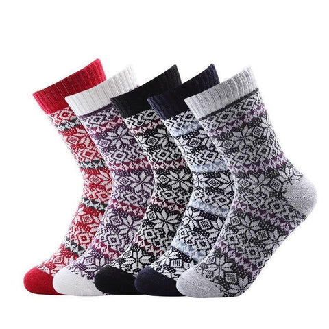 ❄ Women's Wool Snowflake Socks, (5 Pairs)