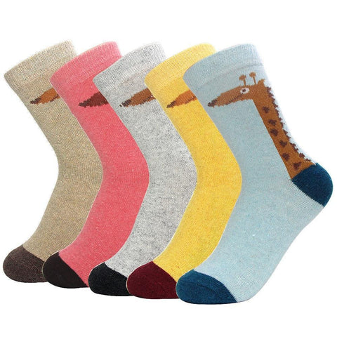 Women's Wool Blend, Giraffe Socks, 5 Pack-Snazzy Socks
