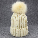 Women's Wool Hat with Pom Poms and Pearls
