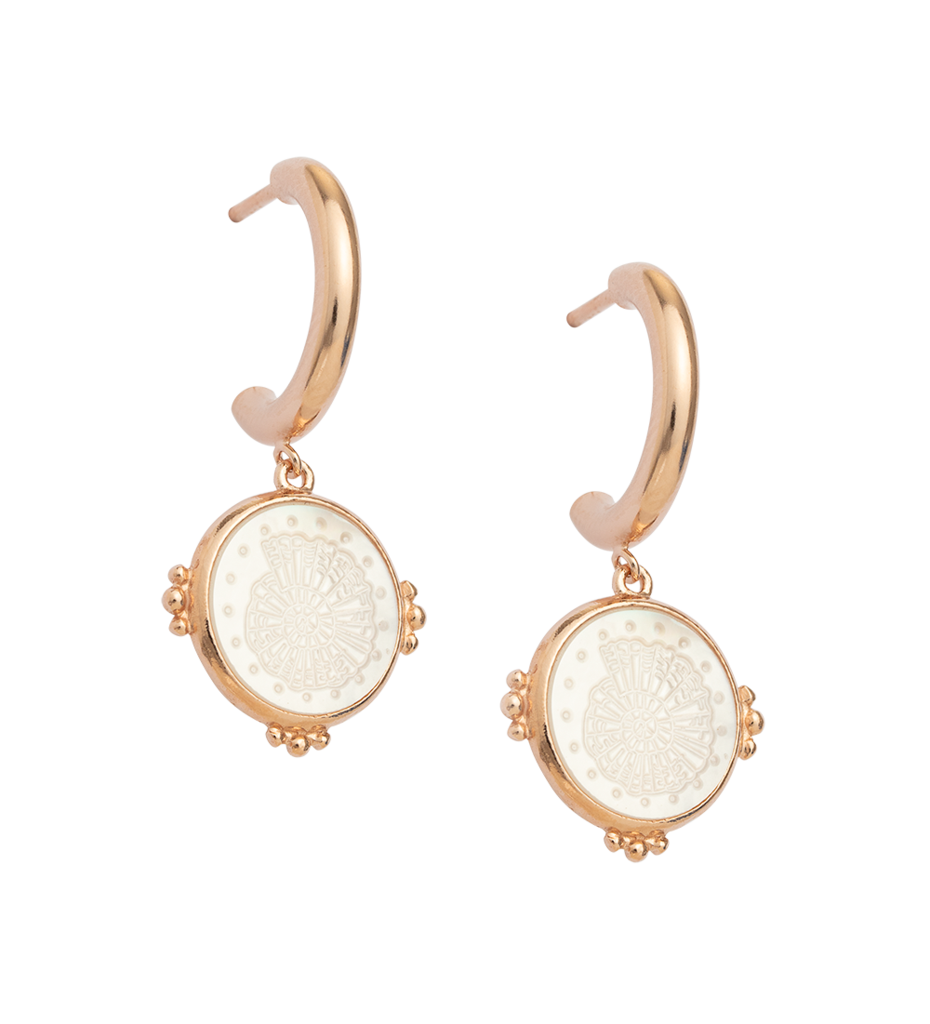 Fossil Shell Hoops 18k Rose Gold Vermeil