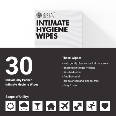 Skin Elements Intimate Hygiene Wipes With Tea Tree Oil & Neem Extracts Avoids Itching & Allergies (Pack of 30)