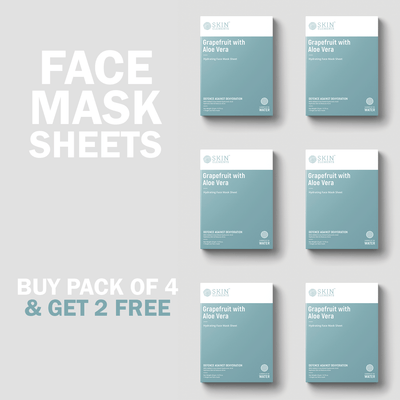 Skin Elements Acne Control Face Mask Sheets With Grapefruit & Aloe Vera (6 Masks)