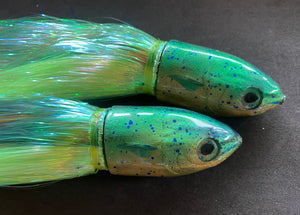 "Niiyama 9""+ Original Green Top Gold belly Mahi Bullet full flashabou 10""+ dressed"