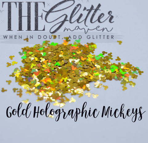 Gold Holographic Mickey Shaped Glitter