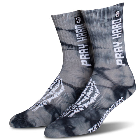 Pray Hard Crew Sock | Black Tie Dye