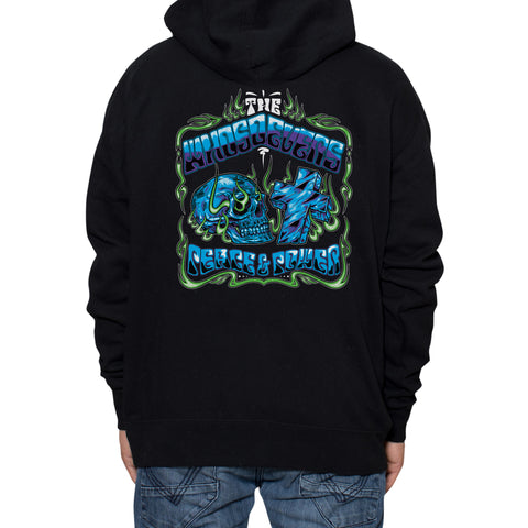 Peace and Power Zip-Up Hooded Sweatshirt | Black